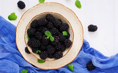 blackberries, black berries, blackberries on a plate, healthy berries