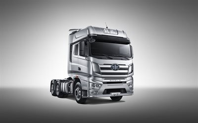 FAW Jiefang, J7, 2020, 6x4, exterior, front view, new silver Jiefang J7, Chinese trucks, FAW