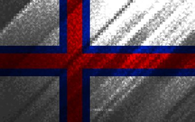 Flag of Faroe Islands, multicolored abstraction, Faroe Islands mosaic flag, Europe, Faroe Islands, mosaic art, Faroe Islands flag
