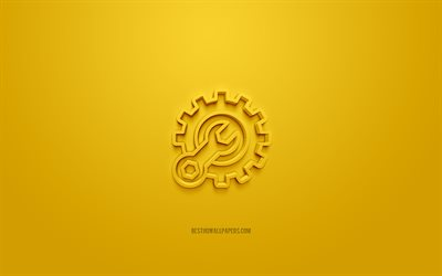 Gear 3d icon, yellow background, 3d symbols, Gear with wrench, creative 3d art, 3d icons, Gear sign, Repair 3d icons