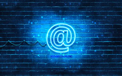 Email neon icon, 4k, blue background, neon symbols, Email, creative, neon icons, Email sign, computer signs, Email icon, computer icons