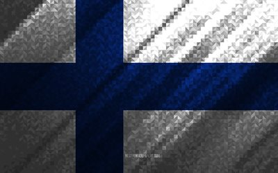 Flag of Finland, multicolored abstraction, Finland mosaic flag, Europe, Finland, mosaic art, Finland flag