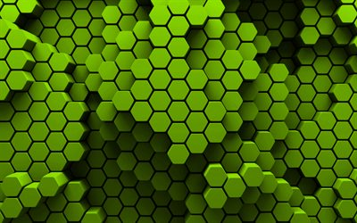 lime hexagons, 4k, 3D art, creative, honeycomb, hexagons patterns, lime hexagons background, hexagons textures, lime backgrounds, hexagons texture