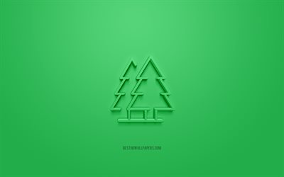 Forest 3d icon, green background, 3d symbols, Forest, creative 3d art, 3d icons, Forest sign, Nature 3d icons, Eco 3d icon