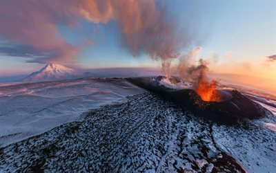 volcanic eruption, winter, mountains, volcano, lava