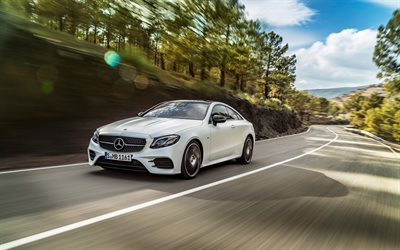 Mercedes-Benz E-Class Coupe, AMG, 2017 cars, movement, white Mercedes