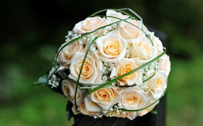 wedding bouquet, roses, beautiful bouquet, roses bouquet