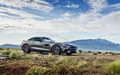 Mercedes-AMG GT, 2016 cars, road, supercars, gray mercedes