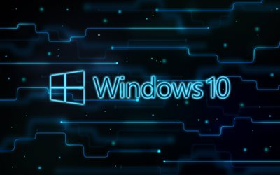 Windows 10, creativo, arte digitale, sfondo blu, il logo, il logo di Windows 10, Microsoft