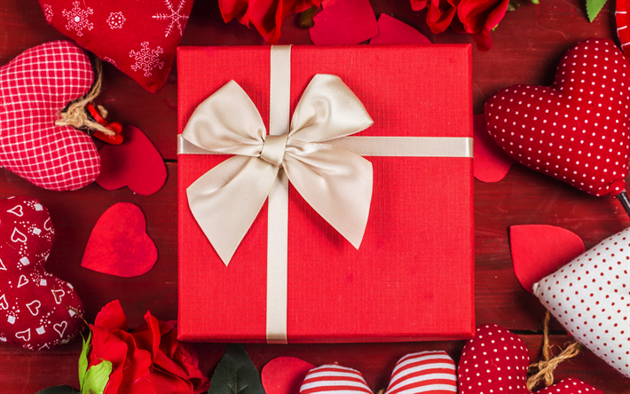 Download Wallpapers Valentines Day Gift Red Gift Box Beige Silk