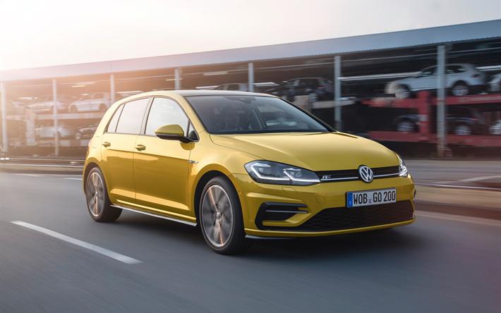 Download Wallpapers Volkswagen Golf R 4k Street 2018 Cars Motion