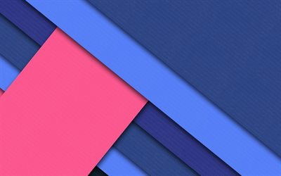 material design, 4k, pink and blue, lines, blue background, android lollipop, creative, geometric shapes, geometry