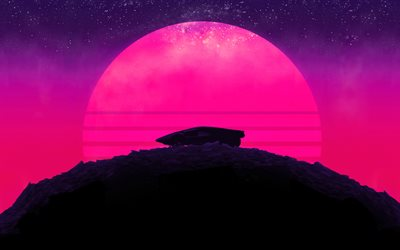pink moon, minimal, future car, mountains