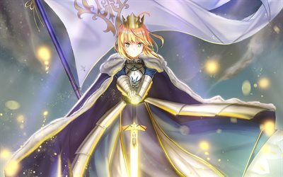 Download wallpapers Saber, sword, manga, Shirou Kotomine