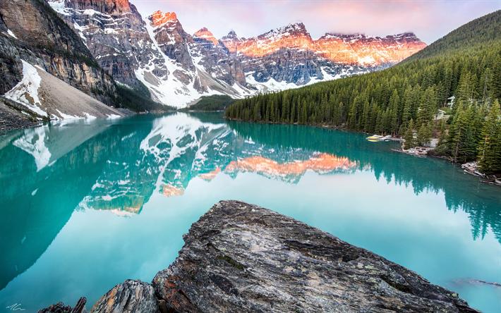 Descargar fondos de pantalla 4k, Lago Moraine, Banff, en las monta�±as,  canad�¡ monumentos, monta�±as rocosas, Alberta, Canad�¡ libre. Im�¡genes fondos  de descarga gratuita