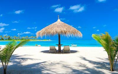 herunterladen hintergrundbild malediven tropischen insel strand sand sonnenschirm meer. Black Bedroom Furniture Sets. Home Design Ideas