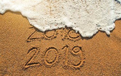 New 2019 Year, wave, beach, sand, the inscription on the sand, moved from 2018 to 2019, Happy New Year