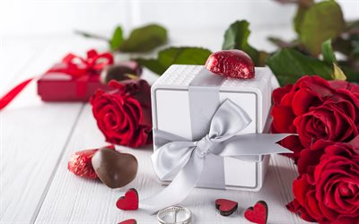 Valentines Day, red roses, February 14, gifts, chocolates, romance