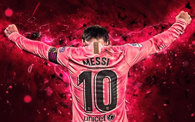 Lionel Messi, back view, pink uniform, Barcelona FC, football stars, FCB, Messi, soccer, footballers, Barca, Leo Messi, argentinian footballers