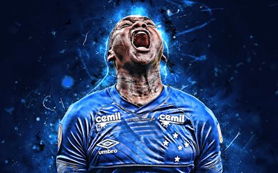 Sassa, close-up, brazilian footballers, Cruzeiro FC, soccer, Brazilian Serie A, Luiz Ricardo Alves, abstract art, football, neon lights, Sassa Cruzeiro