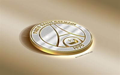 Paris Saint-Germain, French football club, PSG, golden silver logo, Paris, France, Ligue 1, 3d golden emblem, creative 3d art, football