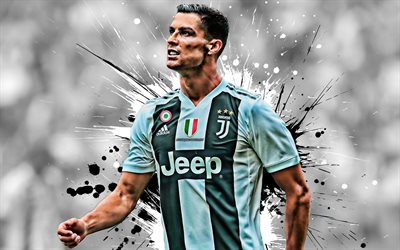 Cristiano Ronaldo, CR7, Portuguese football player, striker, Juventus FC, portrait, creative art, Juve, Turin, Italy, world football star