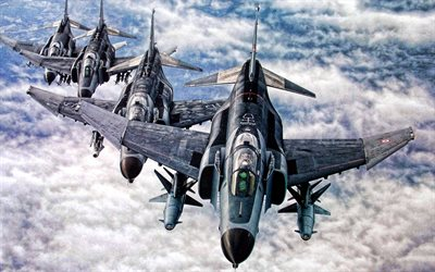 McDonnell Douglas F-4 Phantom II, fighter bomber, third generation fighter, military aircraft in the sky