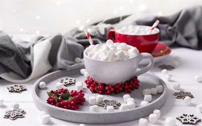 cocoa with marshmallows, cup of cocoa, winter, evening, marshmallows