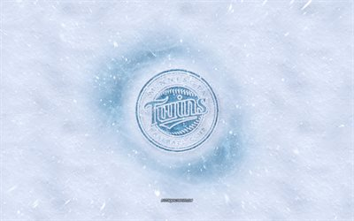 Minnesota Twins logo, American baseball club, winter concepts, MLB, Minnesota Twins ice logo, snow texture, Minneapolis, Minnesota, USA, snow background, Minnesota Twins, baseball