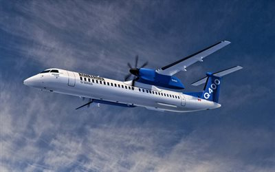 Bombardier Q400, passenger plane, air travel, airplane in the sky, Bombardier Q Series, Q400, Bombardier Aerospace
