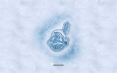 Cleveland Indians logo, American baseball club, winter concepts, MLB, Cleveland Indians ice logo, snow texture, Cleveland, Ohio, USA, snow background, Cleveland Indians, baseball