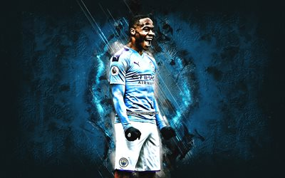 Raheem Sterling, Manchester City FC, English football player, portrait, Premier League, England, football, blue stone background