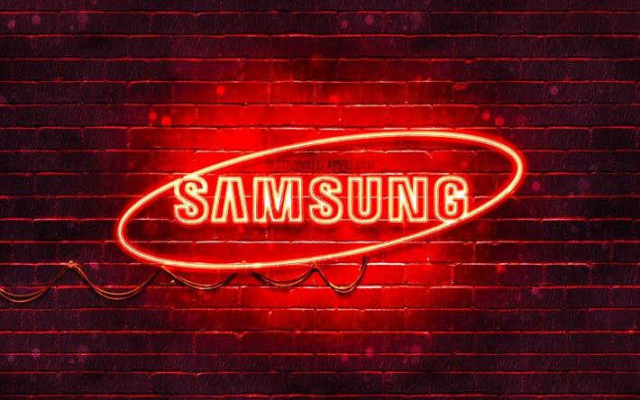 Download Wallpapers Samsung Red Logo 4k Red Brickwall Samsung Logo Brands Samsung Neon Logo Samsung For Desktop Free Pictures For Desktop Free