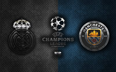 Real Madrid vs Manchester City FC, UEFA Champions League, 2020, metal logos, promotional materials, blue white metal background, Champions League, football match, Real Madrid, Manchester City FC