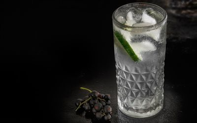 4k, Gin and Tonic Cocktail, darkness, macro, cocktails, glass with drink, Gin and Tonic, Glass with Gin and Tonic