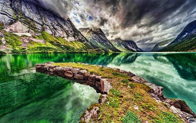 Norway, HDR, beautiful nature, mountains, fjord, emerald water, Europe, Norwegian nature