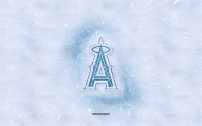 Los Angeles Angels logo, American baseball club, winter concepts, MLB, Los Angeles Angels ice logo, snow texture, Los Angeles, California, USA, snow background, Los Angeles Angels, baseball