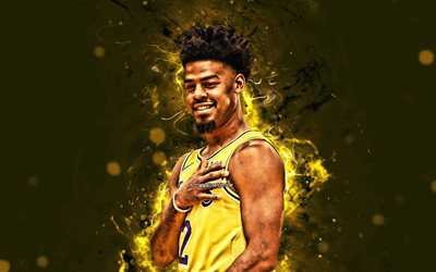 Quinn Cook, 4k, 2020, de la NBA, Los Lakers de Los Angeles, estrellas del baloncesto, Quinn Alexander Cook, el amarillo de las luces de neón, el baloncesto, LA Lakers, creativo, Quinn Cook Lakers, Quinn Cook 4K