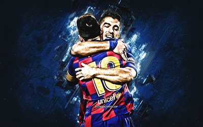 Lionel Messi, Luis Suarez, le FC Barcelone, La Liga, le Catalan football club, pierre bleue, fond, football