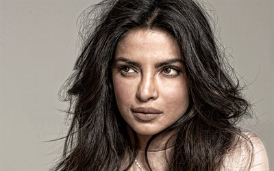 Priyanka Chopra, indian actress, portrait, indian fashion model, photoshoot, beige dress, Priyanka Chopra Jonas