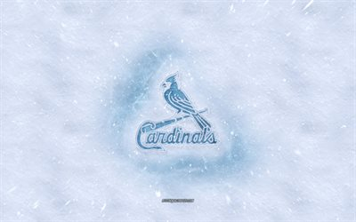 St Louis Cardinals logo, American baseball club, winter concepts, MLB, St Louis Cardinals ice logo, snow texture, St Louis, Missouri, USA, snow background, St Louis Cardinals, baseball