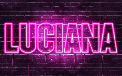 Luciana, 4k, wallpapers with names, female names, Luciana name, purple neon lights, horizontal text, picture with Luciana name