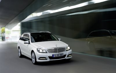 Mercedes-Benz C 350 Estate, 4k, road, 2014 cars, motion blur, 2014 Mercedes-Benz C-class Estate, german cars, Mercedes