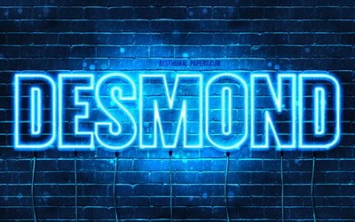 Desmond, 4k, wallpapers with names, horizontal text, Desmond name, blue neon lights, picture with Desmond name