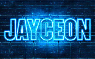 Jayceon, 4k, wallpapers with names, horizontal text, Jayceon name, blue neon lights, picture with Jayceon name