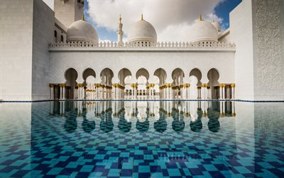 Abu Dhabi, Sheikh Zayed Mosque, fountain, inside view, Abu Dhabi landmark, UAE, United Arab Emirates, Sheikh Zayed Grand Mosque