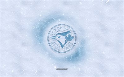 Toronto Blue Jays logo, American baseball club, winter concepts, MLB, Toronto Blue Jays ice logo, snow texture, Toronto, Ontario, Canada, USA, snow background, Toronto Blue Jays, baseball