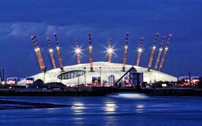 O2 Arena, London, kväll, sunset, modern stadion, Royal Borough, Greenwich Peninsula, Storbritannien