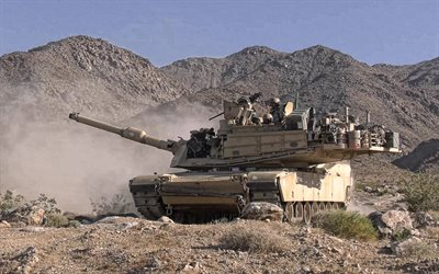 M1 Abrams, USA, M1A1 Abrams, US main battle tank, mountain landscape, American tank, US Army