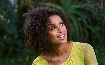 Gugu Mbatha-Raw, english actress, portrait, smile, photoshoot, yellow dress